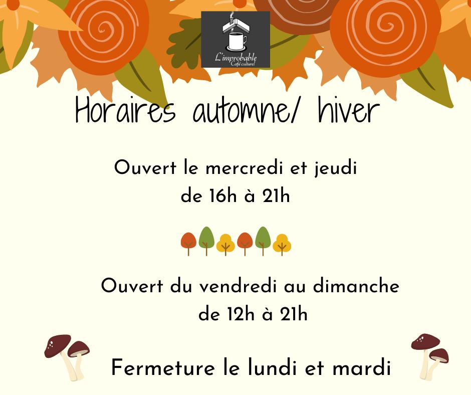 horaire automne hiver